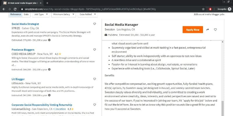 social media marketer jobs