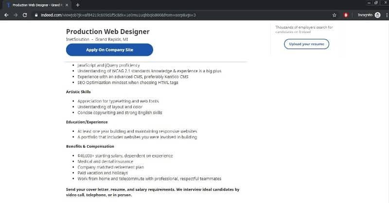website designer job