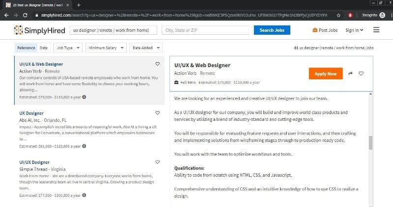 home website design jobs