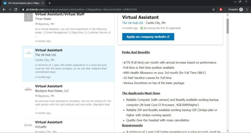 virtual assistant employment